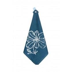 Torchon Linge Occitan métis - Motif fleur de pastel