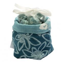 """Bonbonnière tissu """"La Tentation du Pastelier"""" - bleu"""