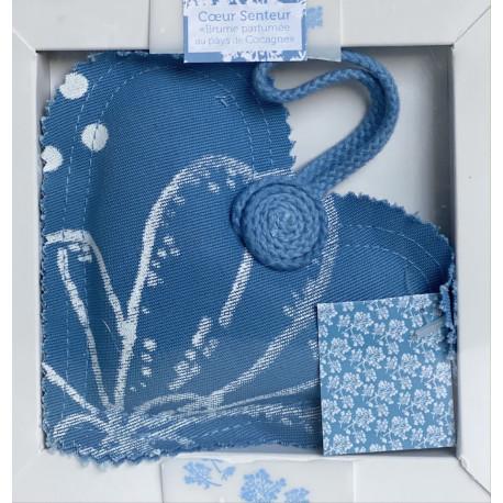 """Cœur senteur """"Brume pays de Cocagne"""" - Teinture et impression pastel f bleu"""